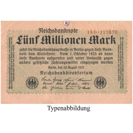 Inflation 1919-1924, 5 Mio Mark 20.08.1923, I, Rb. 104a