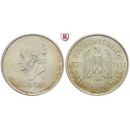 Weimarer Republik, 3 Reichsmark 1932, Goethe, F, vz/vz-st, J. 350