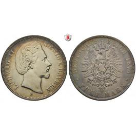 Deutsches Kaiserreich, Bayern, Ludwig II., 5 Mark 1876, D, ss, J. 42