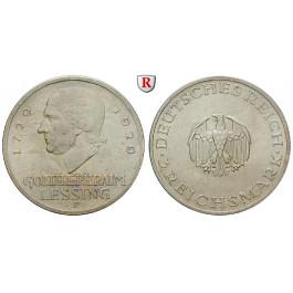 Weimarer Republik, 3 Reichsmark 1929, Lessing, F, vz-st, J. 335