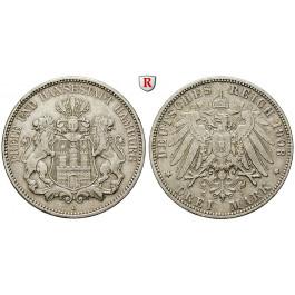 Deutsches Kaiserreich, Hamburg, 3 Mark 1908, J, ss+, J. 64