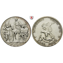 Deutsches Kaiserreich, Preussen, Wilhelm II., 3 Mark 1913, Der König rief, vz, J. 110
