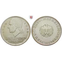 Weimarer Republik, 5 Reichsmark 1929, Lessing, A, f.vz, J. 336