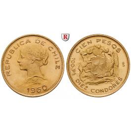Chile, Republik, 100 Pesos 1926-1980, 18,31 g fein, vz-st