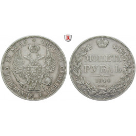 Russland, Nikolaus I., Rubel 1844, ss+