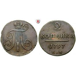 Russland, Paul I., 2 Kopeken 1797, ss