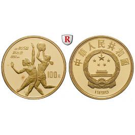 China, Volksrepublik, 100 Yuan 1990, 10,39 g fein, PP