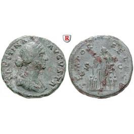 Römische Kaiserzeit, Faustina II., Frau des Marcus Aurelius, Sesterz vor 176, ss