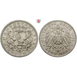 Deutsches Kaiserreich, Bremen, 5 Mark 1906, J, vz-st, J. 60