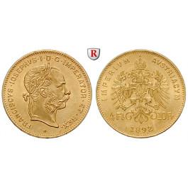 Österreich, Kaiserreich, Franz Joseph I., 4 Gulden 1892, 2,9 g fein, st