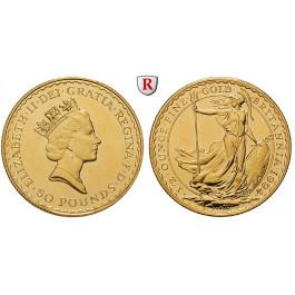 Grossbritannien, Elizabeth II., 50 Pounds seit 1987, 15,55 g fein, st