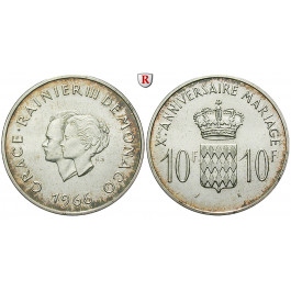 Monaco, Rainier III., 10 Francs 1966, 22,5 g fein, f.st