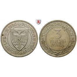 Weimarer Republik, 3 Reichsmark 1926, Lübeck, A, vz-st, J. 323