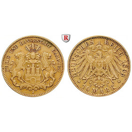 Deutsches Kaiserreich, Hamburg, 10 Mark 1893, J, ss, J. 211