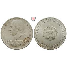 Weimarer Republik, 3 Reichsmark 1929, Lessing, A, vz-st, J. 335