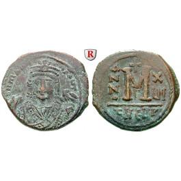 Byzanz, Mauricius Tiberius, Follis 595, ss+