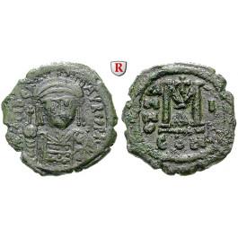 Byzanz, Mauricius Tiberius, Follis 582-583, Jahr 1, ss
