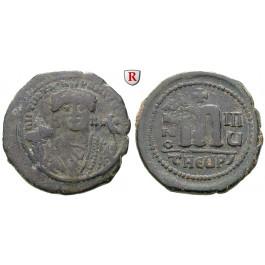 Byzanz, Mauricius Tiberius, Follis Jahr 8, ss