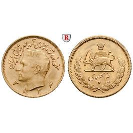 Iran, Mohammed Riza Pahlevi, 1/2 Pahlavi 1950-1979, 3,66 g fein, vz-st