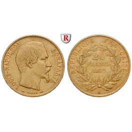 Frankreich, Louis Napoleon, 20 Francs 1852, 5,81 g fein, ss