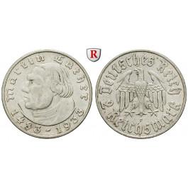 Drittes Reich, 2 Reichsmark 1933, Luther, F, vz, J. 352