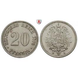 Deutsches Kaiserreich, 20 Pfennig 1876, B, f.st, J. 5