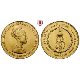 Thailand, Rama IX. (Bhumibol Adulyadej), 600 Baht 1968, 13,5 g fein, vz