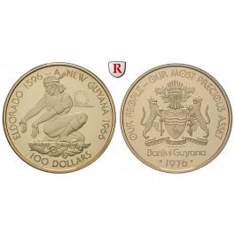 Guyana, 100 Dollars 1976, 2,87 g fein, PP