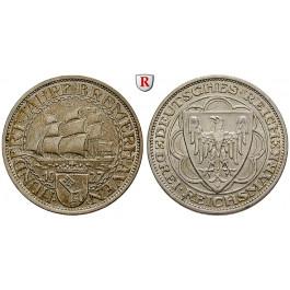 Weimarer Republik, 3 Reichsmark 1927, Bremerhaven, A, vz-st, J. 325