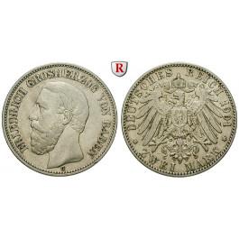 Deutsches Kaiserreich, Baden, Friedrich I., 2 Mark 1901, G, ss, J. 28