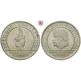 Weimarer Republik, 3 Reichsmark 1929, Verfassung, A, vz-st, J. 340