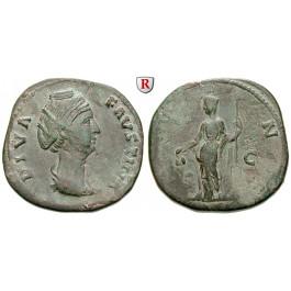 Römische Kaiserzeit, Faustina I., Frau des Antoninus Pius, Sesterz nach 141, ss+