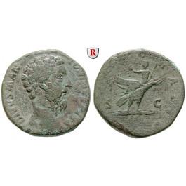 Römische Kaiserzeit, Marcus Aurelius, Sesterz 180 unter Commodus, ss