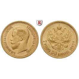Russland, Nikolaus II., 7 1/2 Rubel 1897, 5,81 g fein, ss-vz