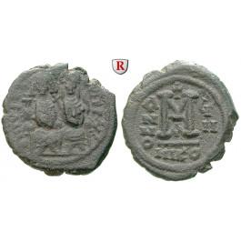 Byzanz, Justin II., Follis Jahr 8 = 572-573, f.ss