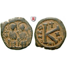 Byzanz, Justin II., Halbfollis (20 Nummi) Jahr 12 = 576-577, ss+