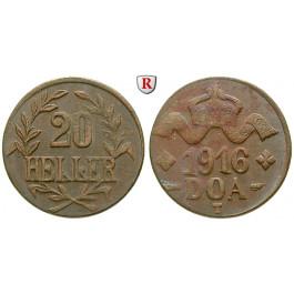 Nebengebiete, Deutsch-Ostafrika, 20 Heller 1916, Drei Blätter / Große Krone, T, vz, J. 724a