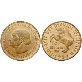 Nebengebiete, Westfalen, 50 Millionen Mark 1923, vom Stein, breiter Randstab, vz-st, J. N23a