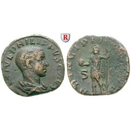 Römische Kaiserzeit, Philippus II., Caesar, Sesterz 244-247, ss+/f.ss