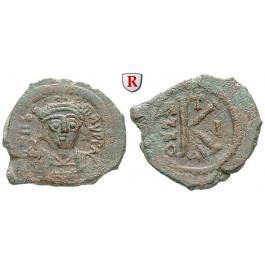 Byzanz, Mauricius Tiberius, Halbfollis (20 Nummi) 591-592, Jahr 10, s-ss