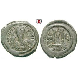 Byzanz, Mauricius Tiberius, Follis Jahr 6 =587-588, ss