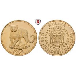 Belize, 100 Dollars 1985, 3,11 g fein, PP