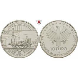 Bundesrepublik Deutschland, 10 Euro 2010, 175 Jahre Eisenbahn, D, bfr.
