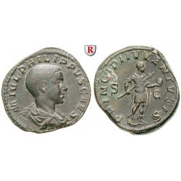 Römische Kaiserzeit, Philippus II., Caesar, Sesterz 244-247, f.vz