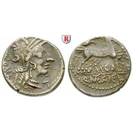 Römische Republik, M. Calidius, Metellus Nepos, Cn. Fulvius, Denar 117-116 v.Chr., ss