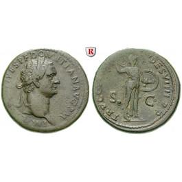 Römische Kaiserzeit, Domitianus, Sesterz 81-82, ss