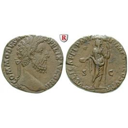 Römische Kaiserzeit, Commodus, Sesterz 187, f.vz/ss+