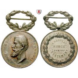 Rumänien, Carol I., Silbermedaille o.J., prfr.