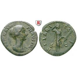 Römische Kaiserzeit, Faustina II., Frau des Marcus Aurelius, As 145-146, ss
