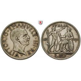 Italien, Königreich, Vittorio Emanuele III., 20 Lire 1928, Jahr VI, ss+
